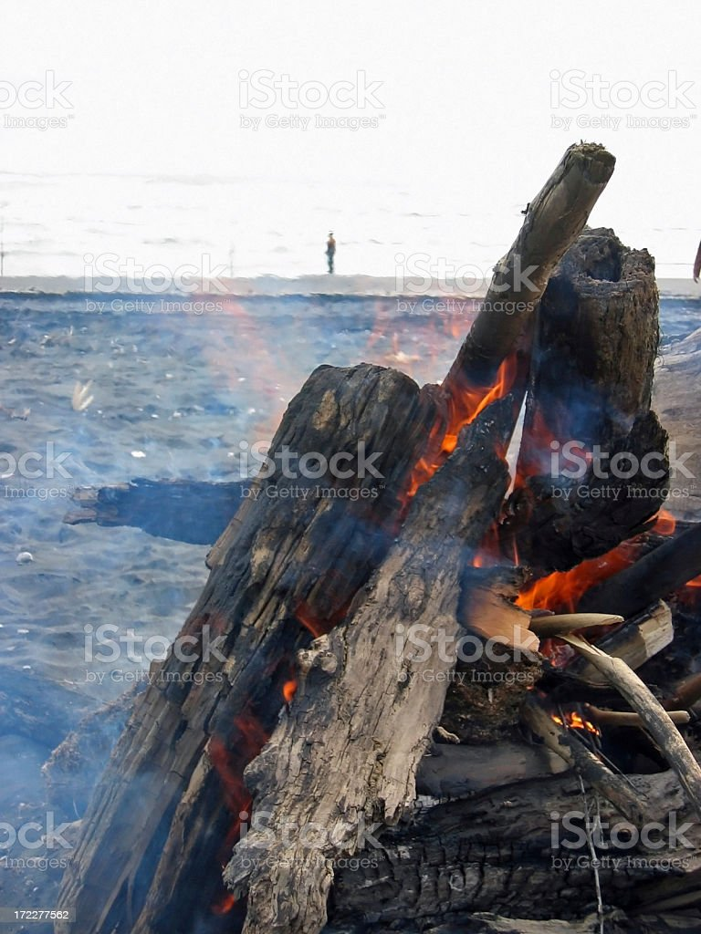 Fire on the beach royalty-free stock photo