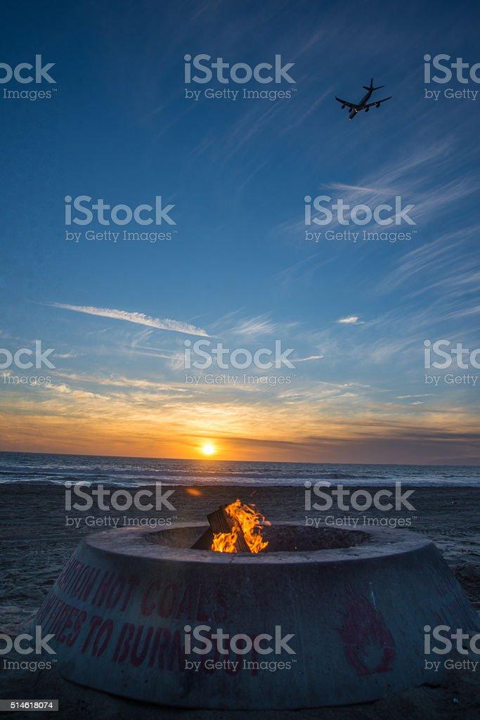 fire on the beach stock photo