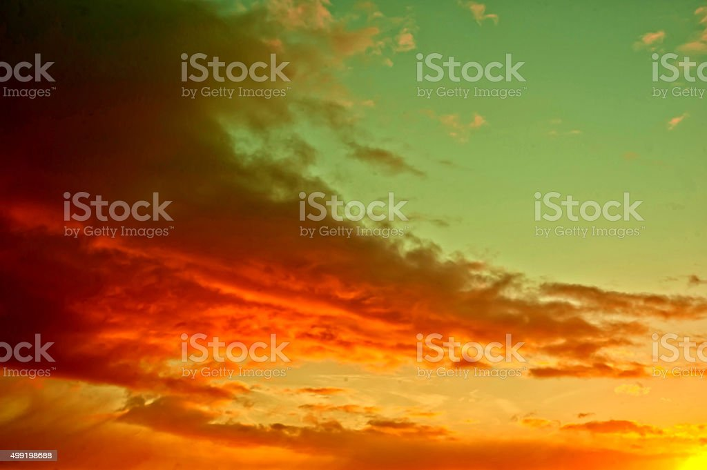 Fire on the sky - morning clouds stock photo