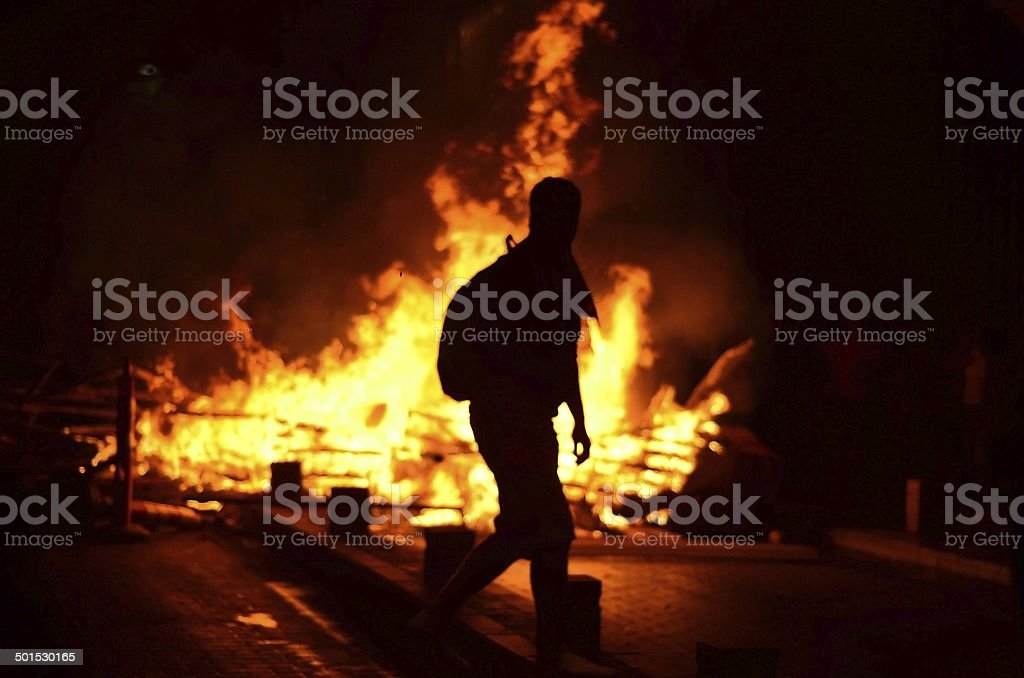 Fire on the street stock photo
