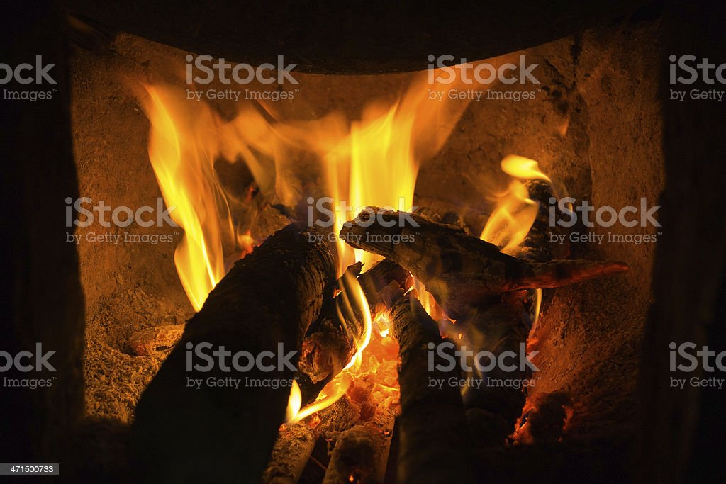 fire on the wood royalty-free stock photo