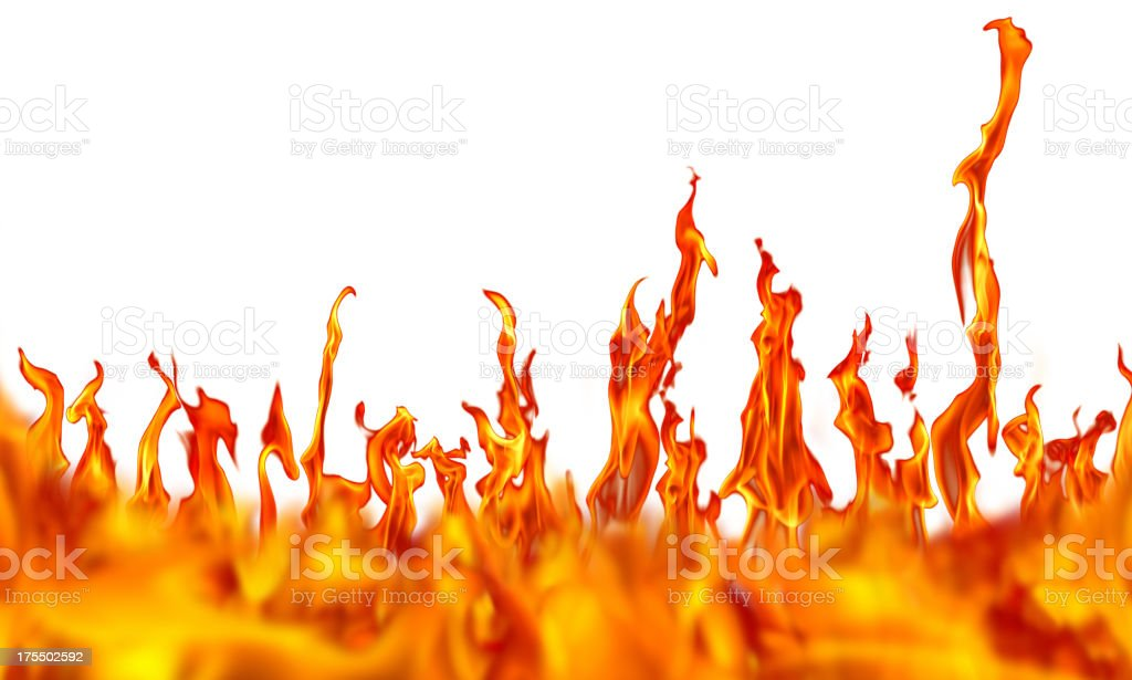 fire over white stock photo