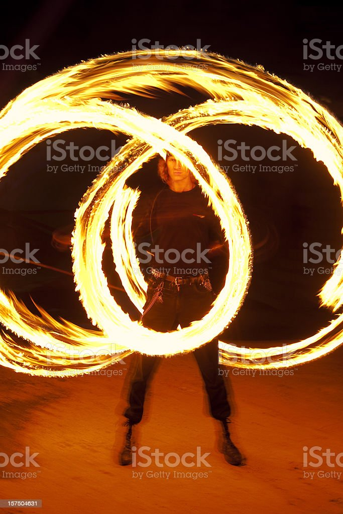 Fire Performer at night. Fireshow stock photo