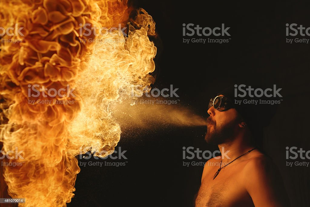 Fire Performer at night stock photo