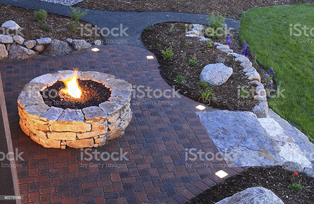 Fire Pit and Backyard Patio stock photo