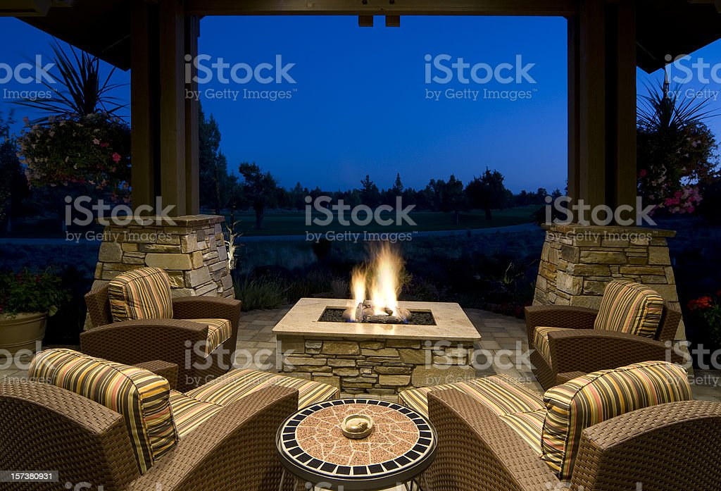 Fire Pit Deck at Night stock photo