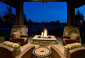 Fire Pit Deck at Night