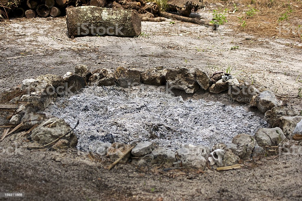 fire pit filled with burnt ash royalty-free stock photo