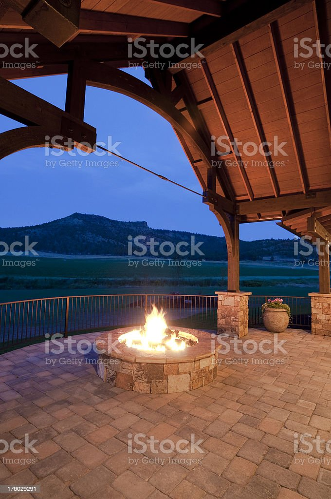 Fire pit, home stock photo