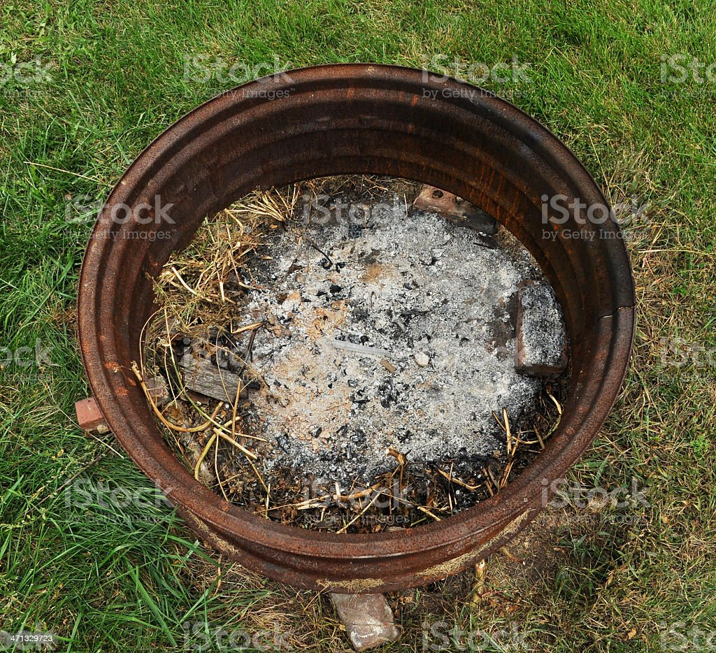 Fire Pit in a Tire Hub royalty-free stock photo