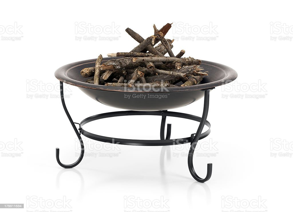 Fire Pit with Firewood stock photo