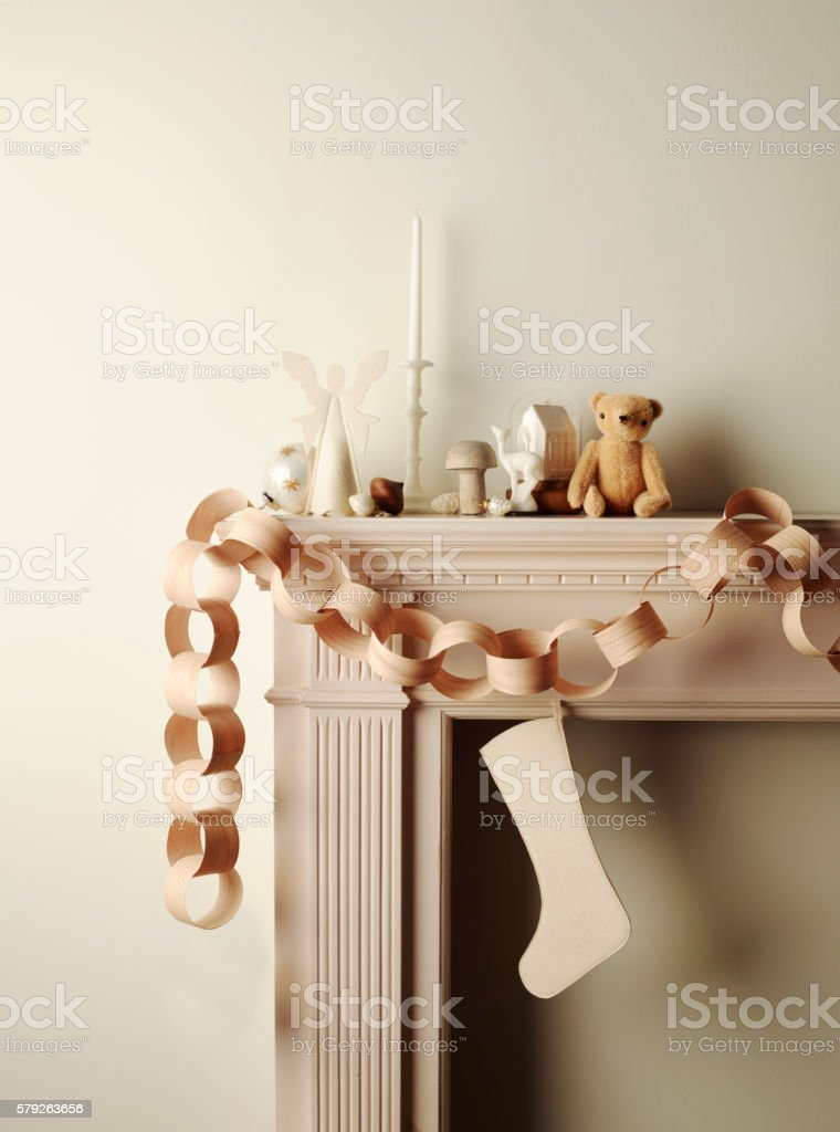 Fire place mantel with holiday decor stock photo