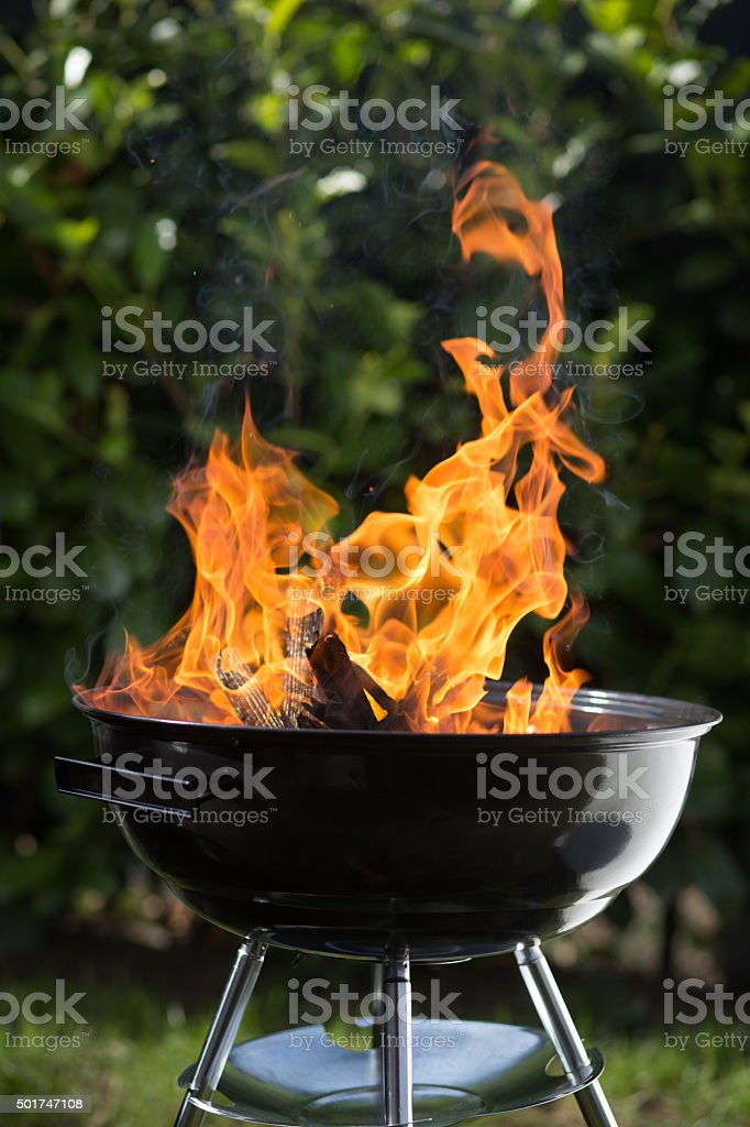 Fire preparation for barbecue stock photo