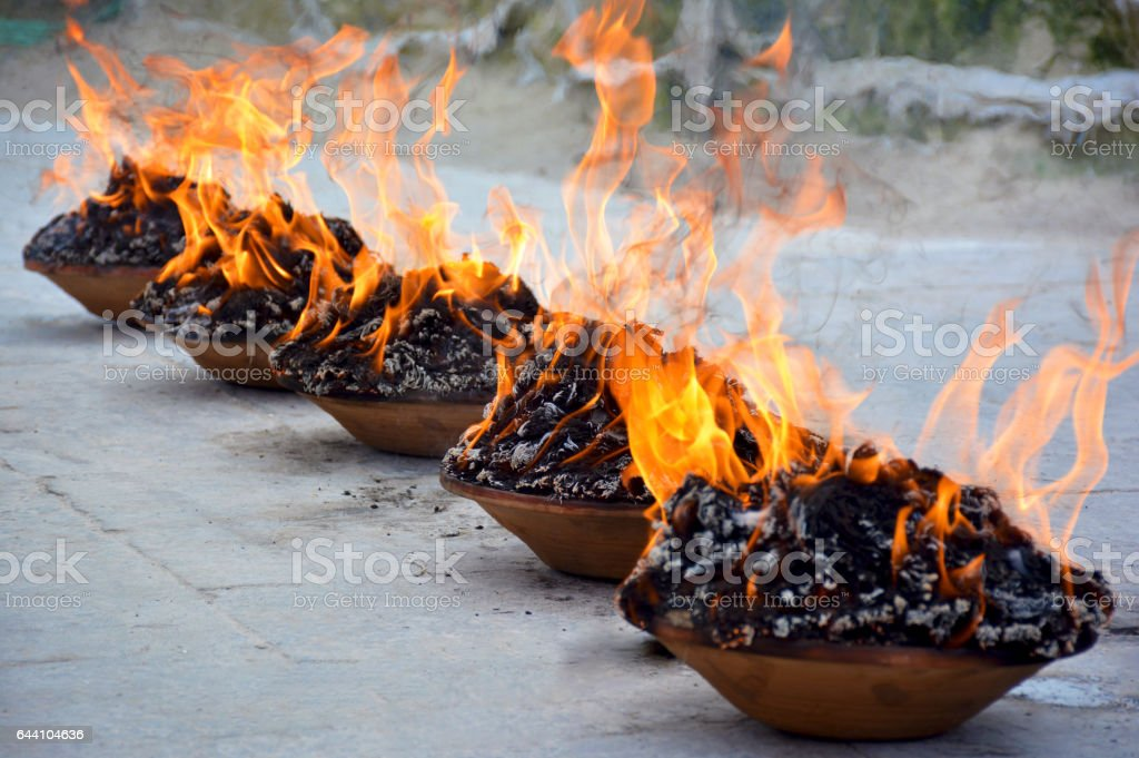 Fire puja close up stock photo