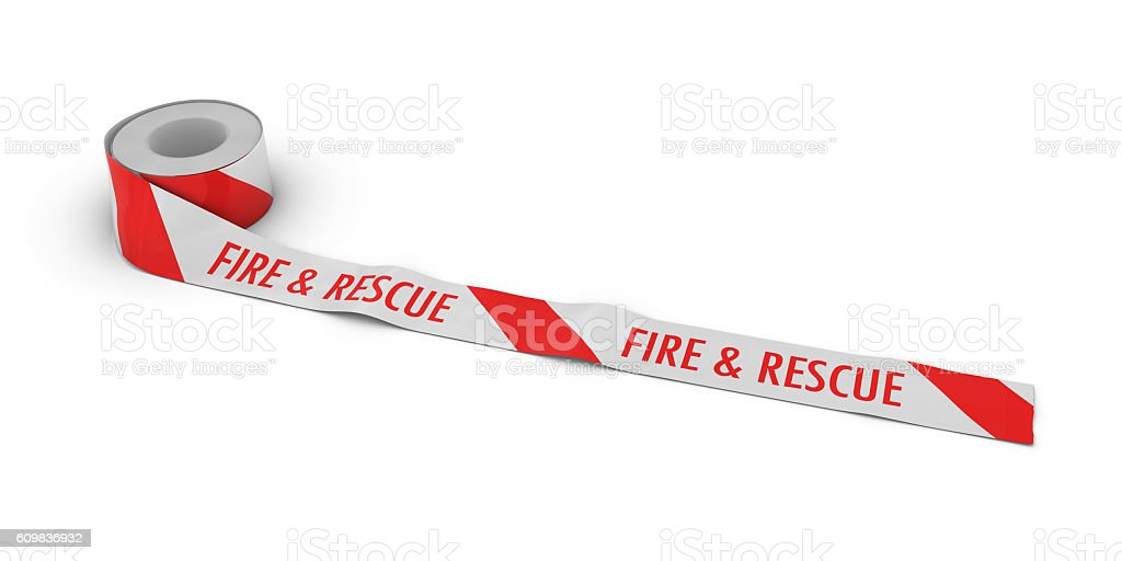 Fire & Rescue Tape Roll unrolled across white floor stock photo