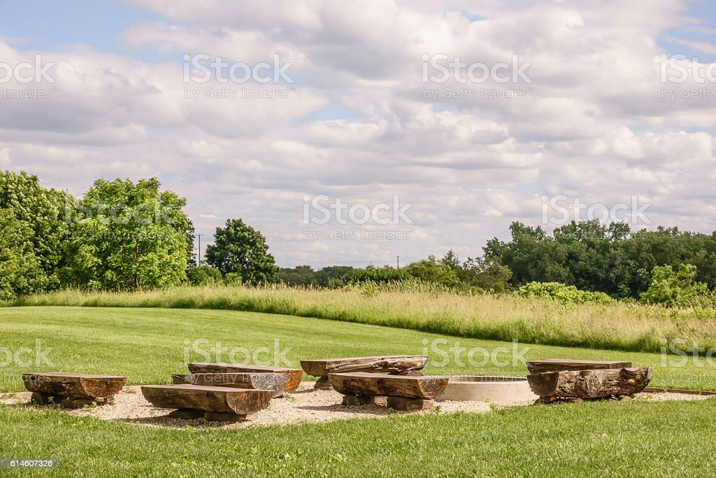 Fire ring and benches stock photo