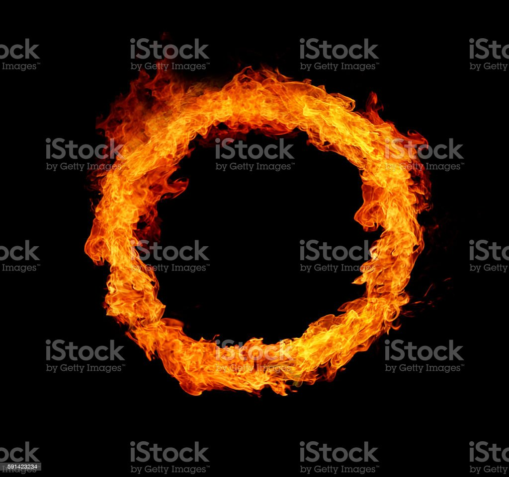 Fire ring, isolated on black background stock photo