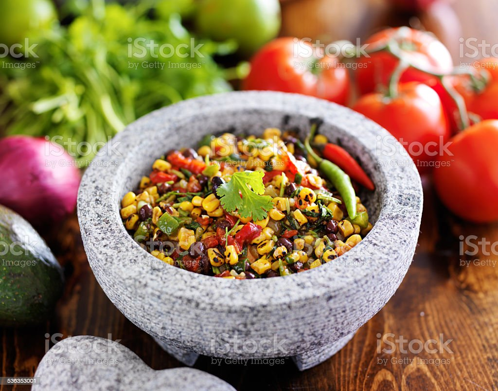 fire roasted corn and black bean salsa stock photo