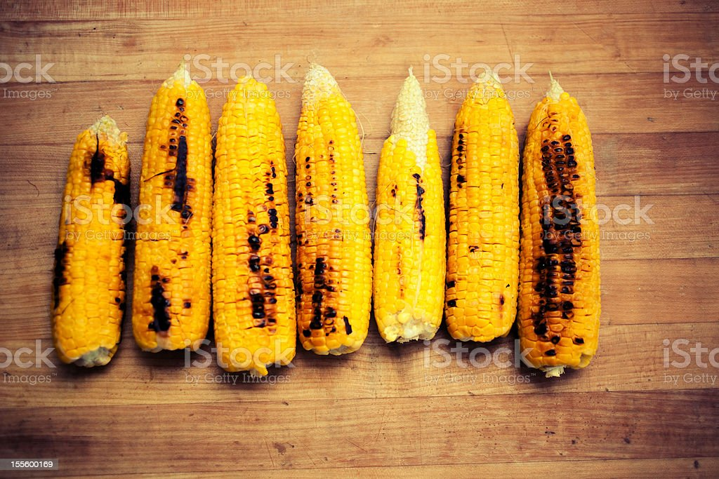 Fire Roasted Corn on the Cob stock photo