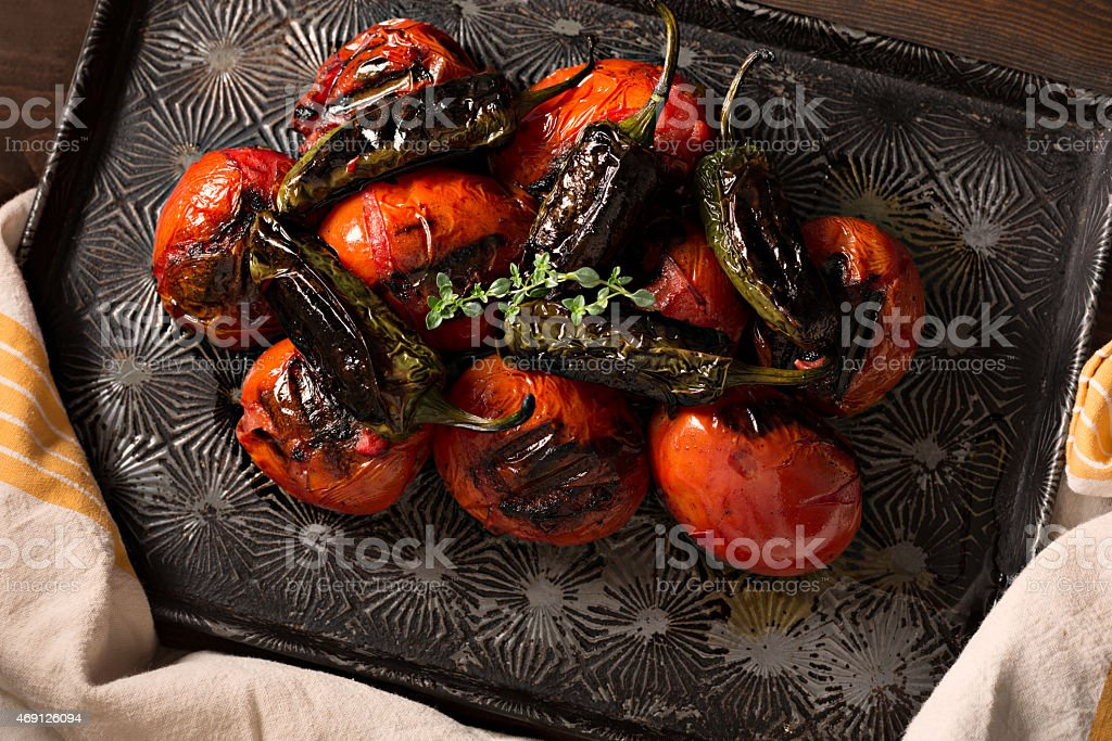 Fire Roasted Tomatoes And Jalapeño Peppers stock photo