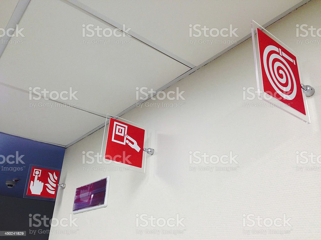 Fire safety equipment signs royalty-free stock photo
