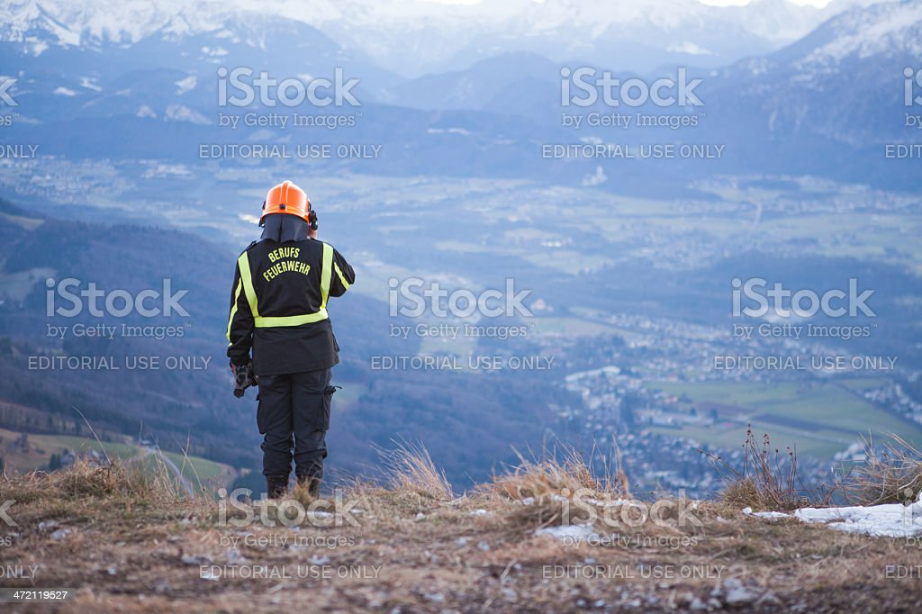 Fire Service in the Mountain stock photo