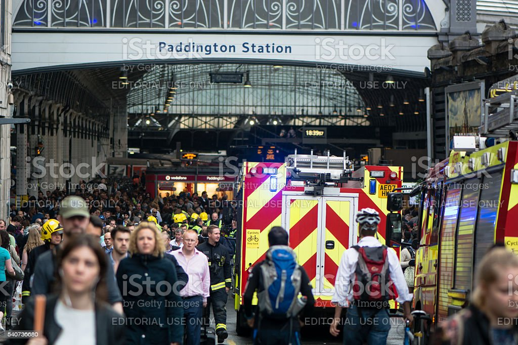 Fire services attend incident outside Paddington Station stock photo