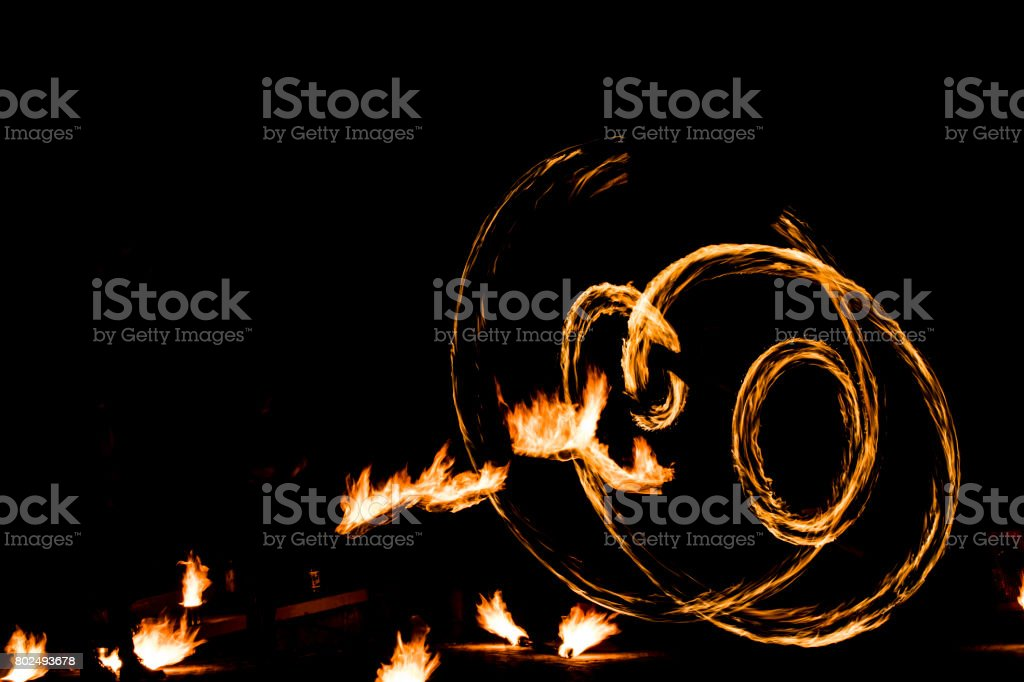 fire show and a lot of the bright sparks in the night stock photo