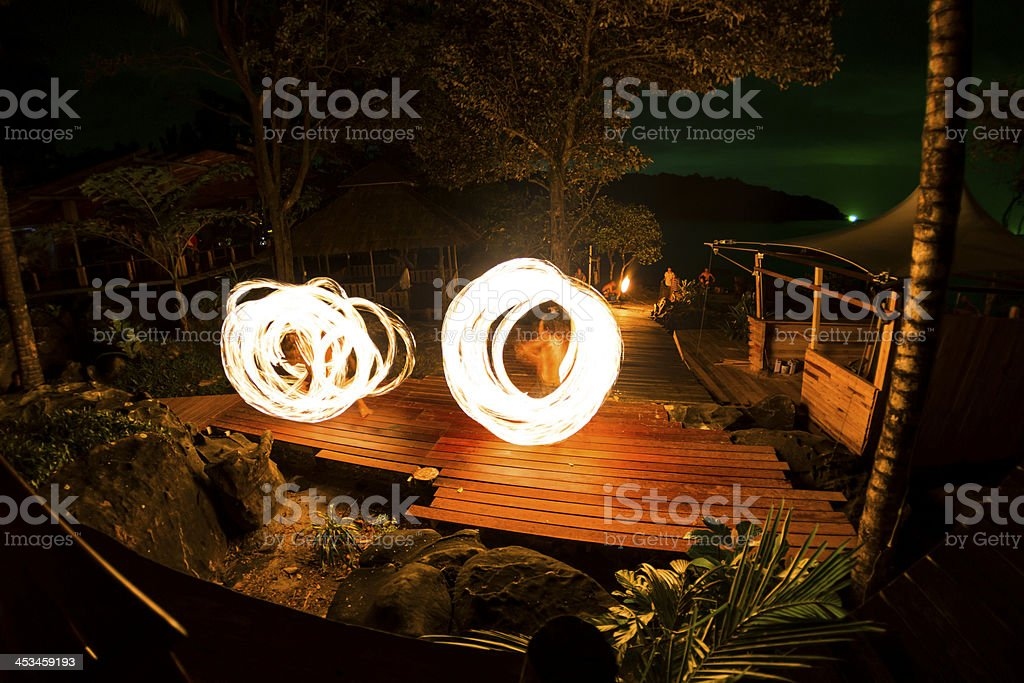 Fire Show at Analay resort in Kood island stock photo
