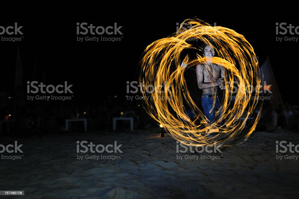 Fire Show at the Beach - Full Moon Party (XXXL) royalty-free stock photo