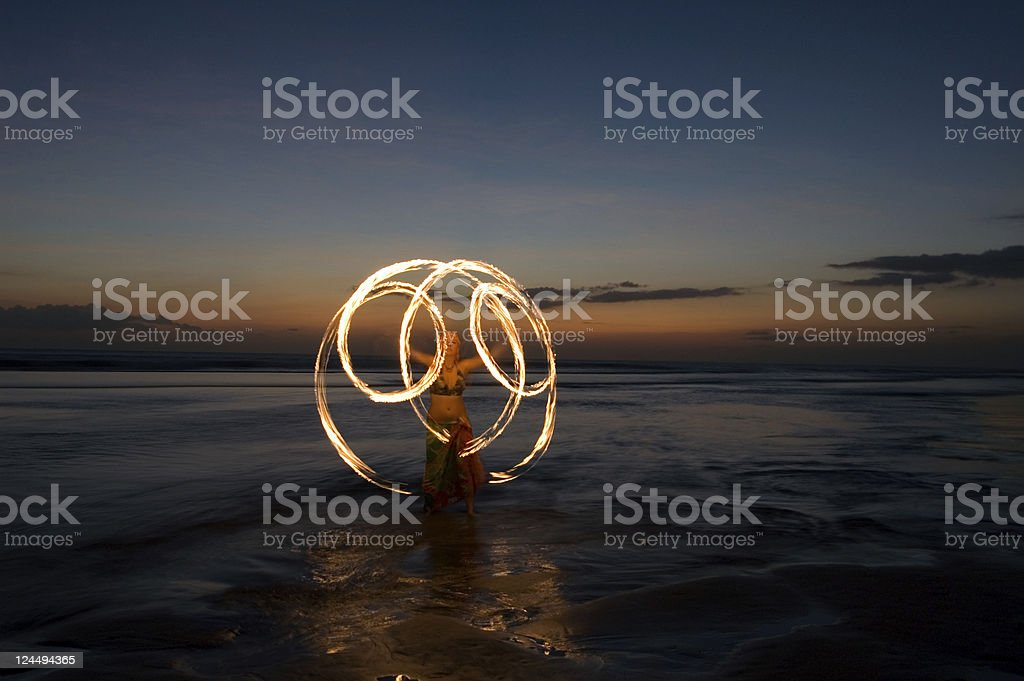 Fire show in Bali stock photo