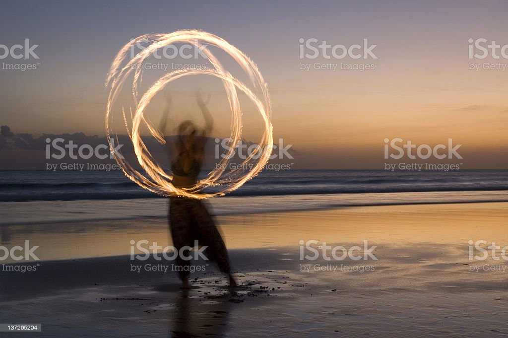 Fire show on beach in Bali stock photo