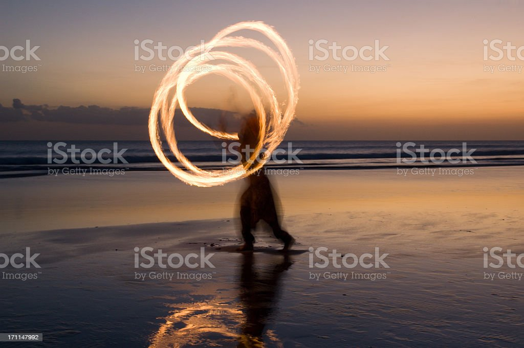 Fire show on the beach in Bali stock photo