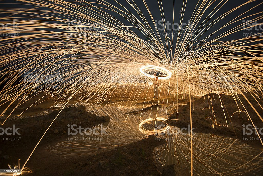 Fire spinning from steel wool royalty-free stock photo