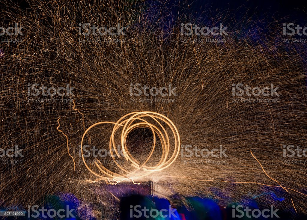 Fire Spinning stock photo