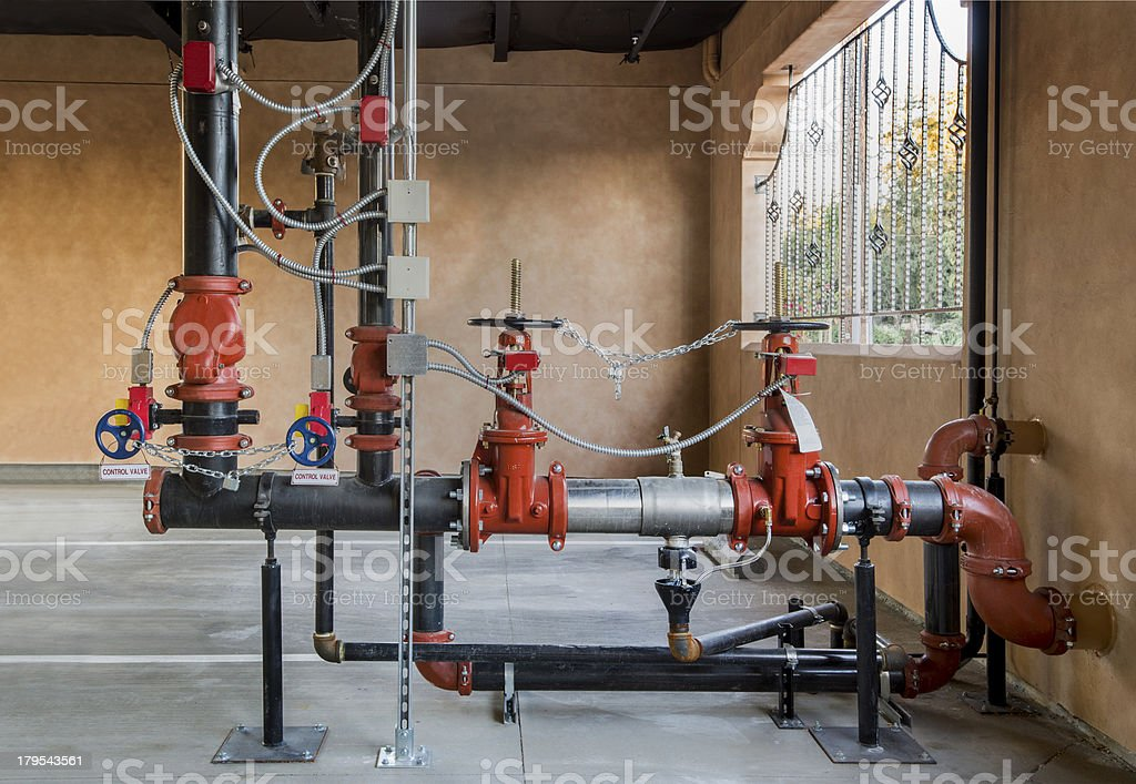 Fire Sprinkler Control Installation stock photo