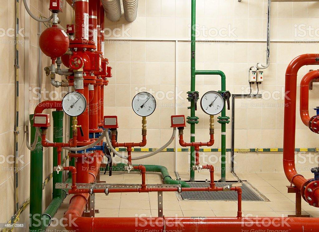 Fire sprinkler control system stock photo