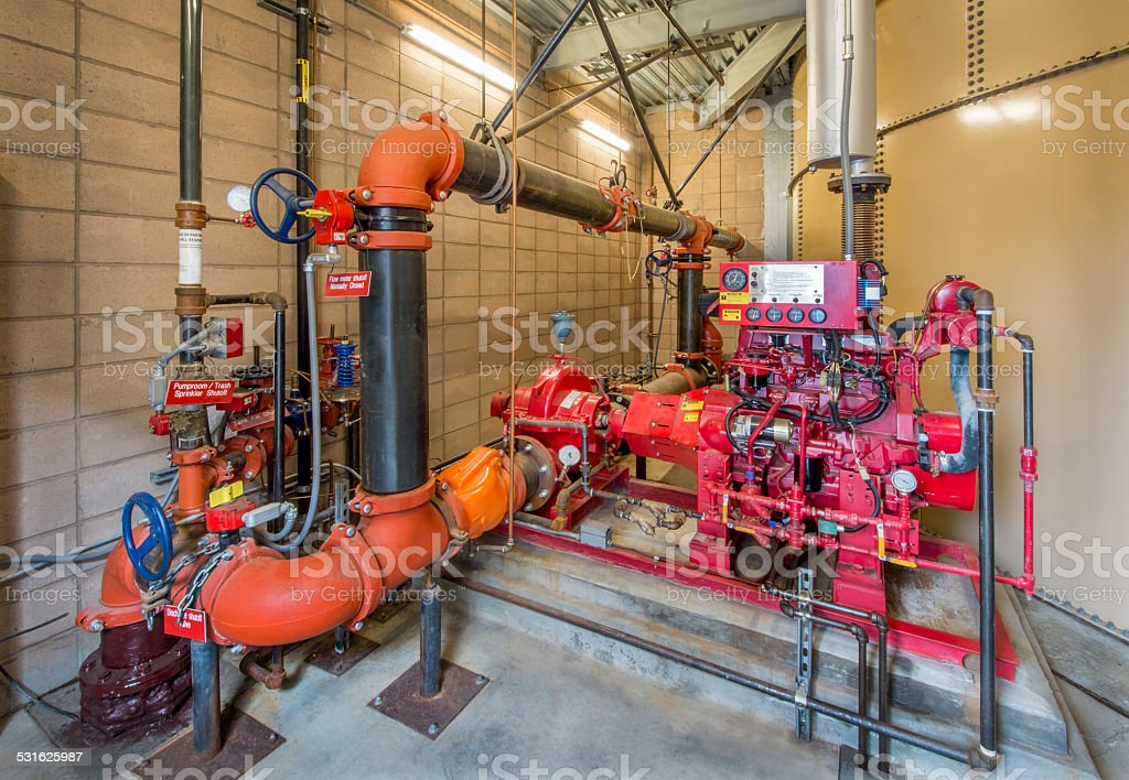 Fire Sprinkler Controls with Diesel Backup stock photo