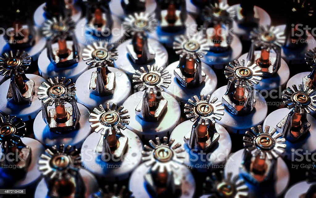 Fire sprinklers ready for installation stock photo
