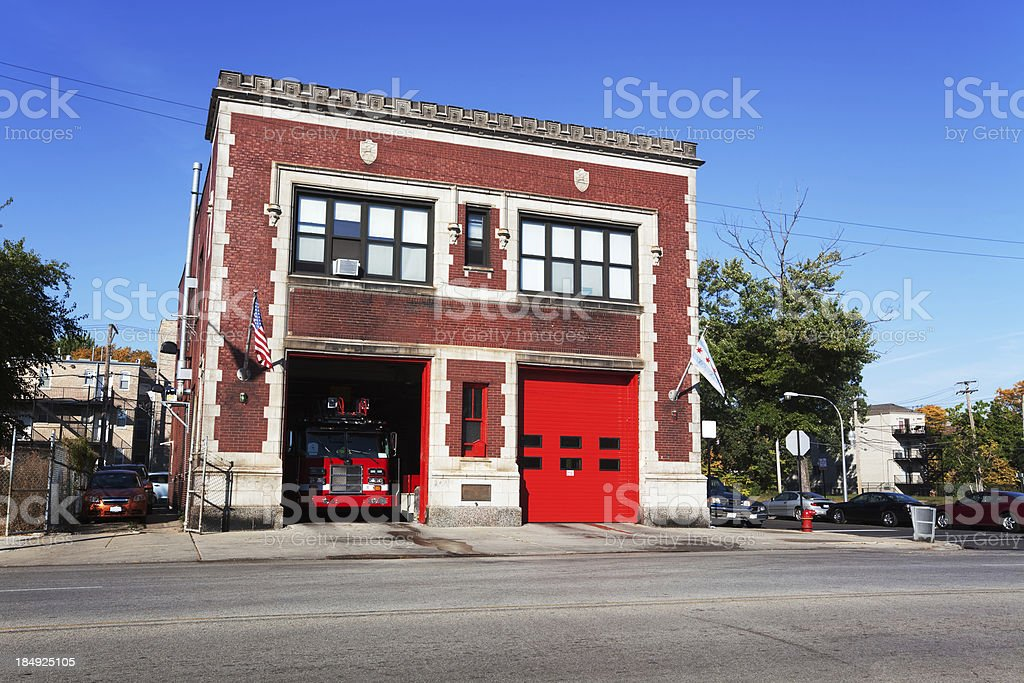 Fire Station on Cottage Grove Avenue in Grand Boulevard, Chicago stock photo