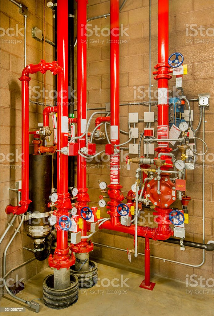 Fire Suppression Sprinkler Controls stock photo