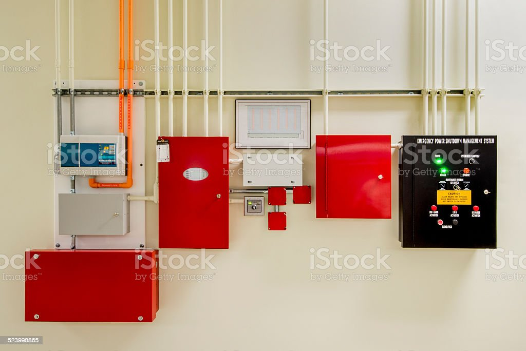 Fire Suppression System with Aspirating Smoke Detector stock photo