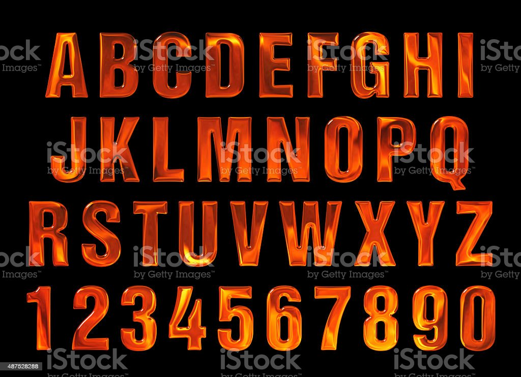 fire text. Alphabet of fire. red-hot metal text stock photo