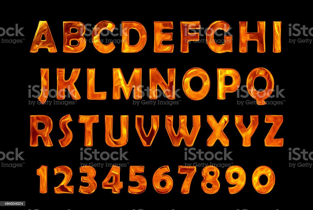 fire text collection. Alphabet of Fire stock photo
