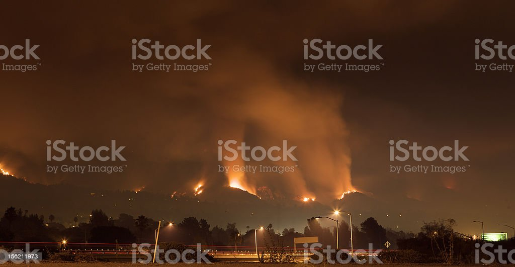 Fire Threatens Homes on Hillside royalty-free stock photo