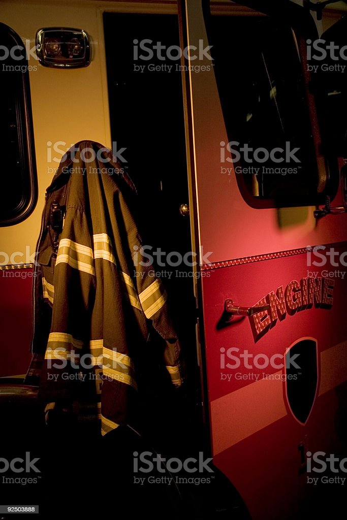 Fire Truck and Jacket royalty-free stock photo