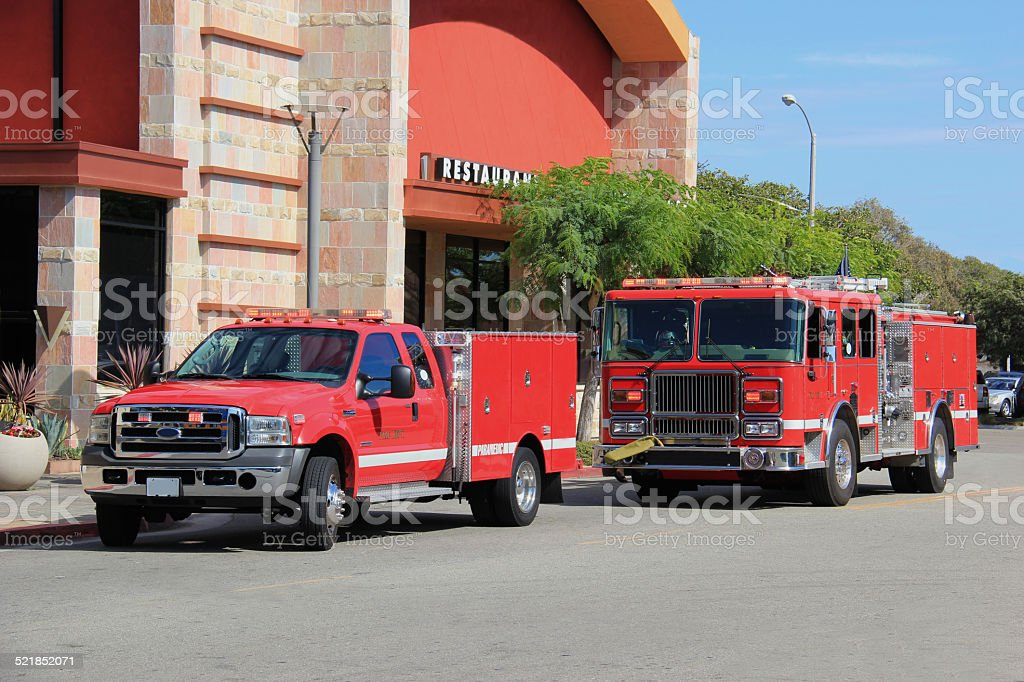 Fire Truck and Paramedic Truck stock photo
