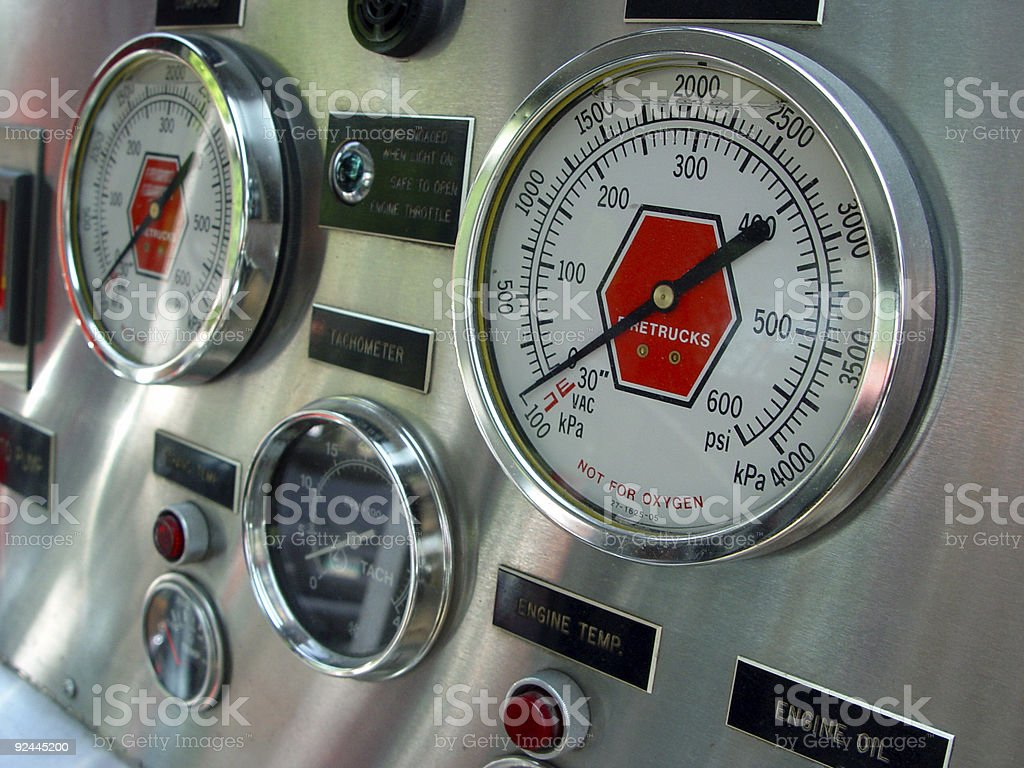 Fire truck guage stock photo