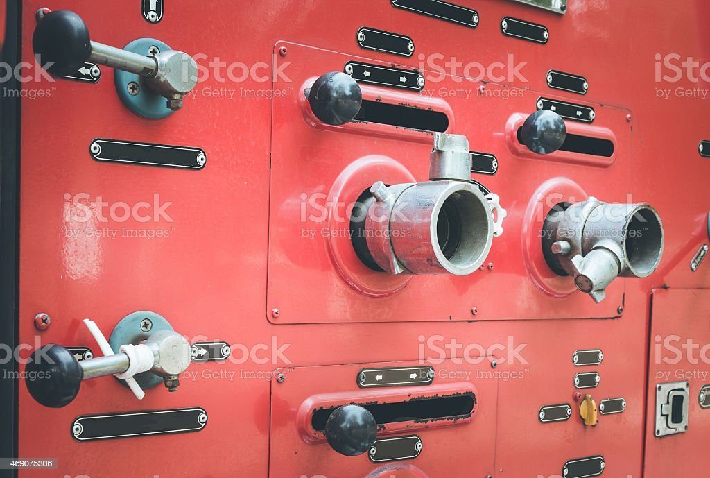 Fire truck hose connectors stock photo