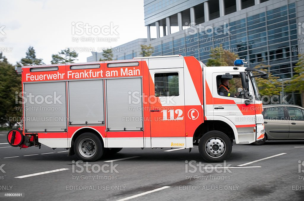 Fire truck in downtown Frankfurt, Germany stock photo